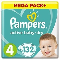 Подгузники Pampers Active Baby-Dry 4, 8 -14 кг, 132 шт.