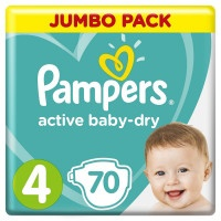 Подгузники Pampers Active Baby JumboMaxi 4, 9-14 кг, 70 шт.