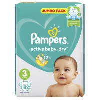 Подгузники Pampers Active Baby-Dry Jumbo Pack Midi 3, 4-9 кг, 82 шт.