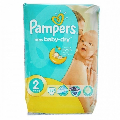 Подгузники Pampers Baby-Dry, Mini (3-6кг), 17 шт