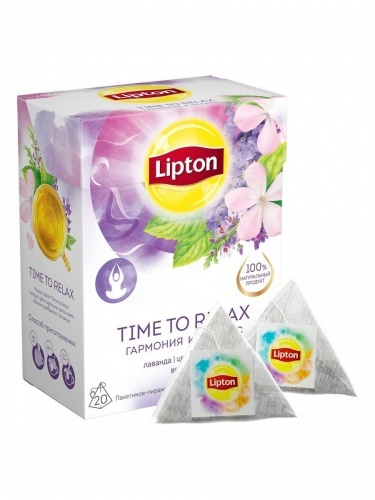 Напиток Lipton Time to Relax с лавандой, вербеной и цветками вереска 20 пирамидок по 1.6 г