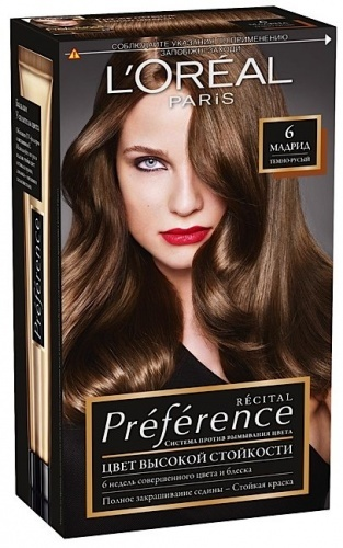Краска для волос L'OREAL recital preference тон 6, мадрид темно-русый